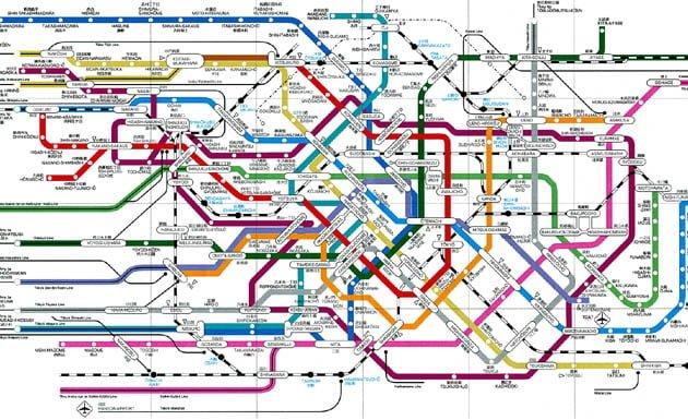 Diagrama de las vías de ferrocarril en Japón