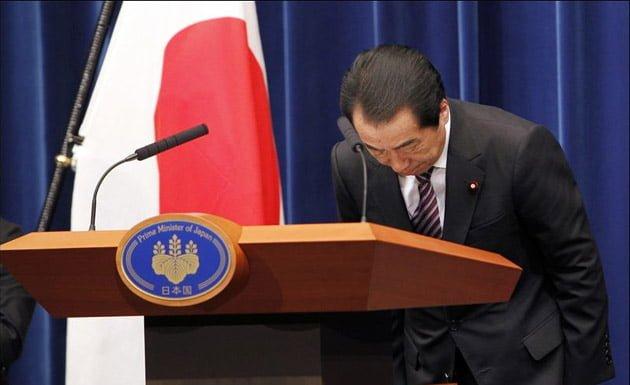 Primer Ministro de Japón pidiendo disculpas