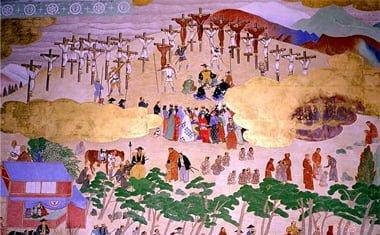 crucifixión de cristianos por hideyoshi