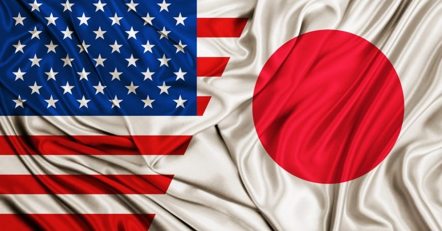 Banderas de Japón y Estados Unidos