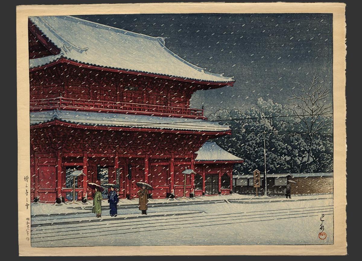 Hasui Kawase - Templo de Zojo en la nieve